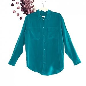 Equipment Femme Signature Silk Shirt Green Storm